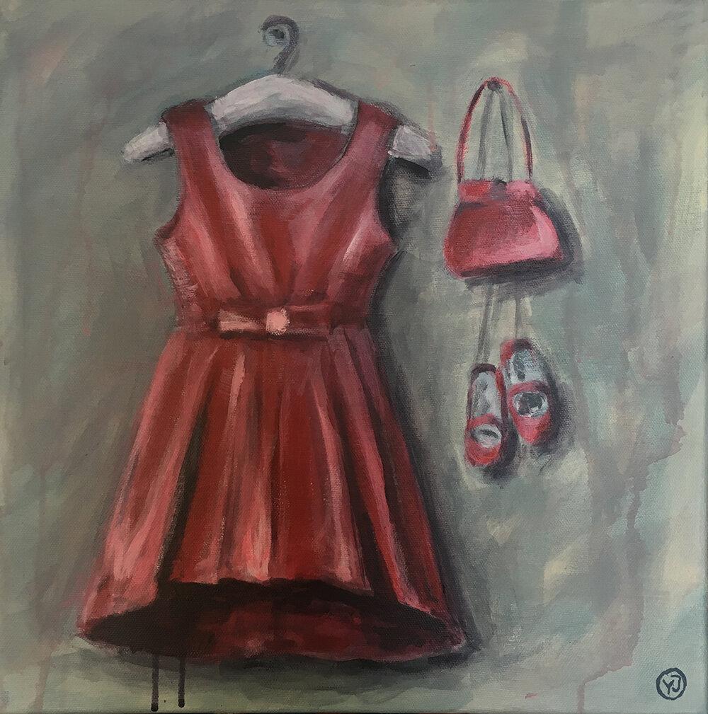"""Dress for success"" akryl 40 x 40 cm. 4500 kr."