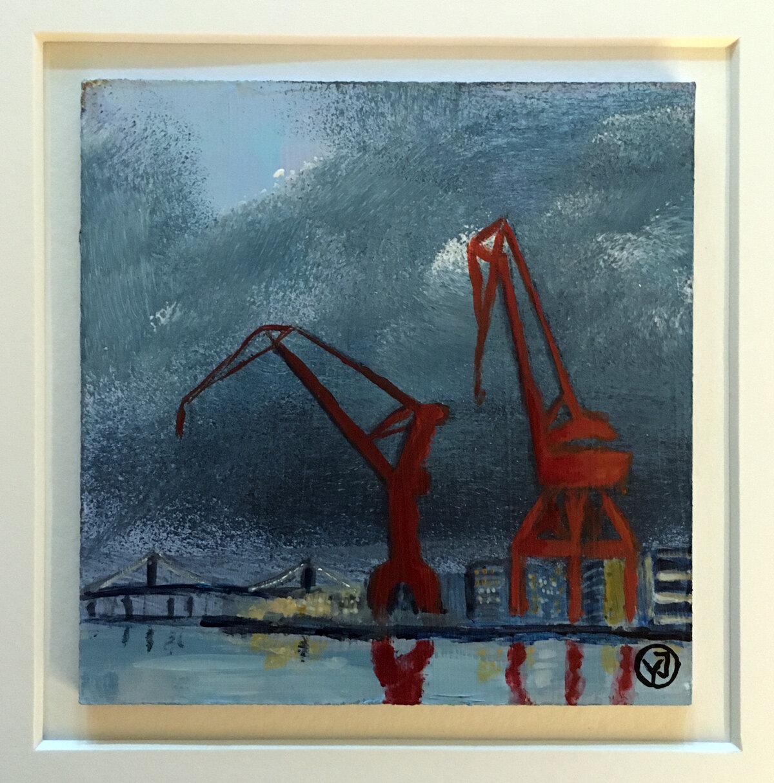 """""""Kranar"""" akryl på pannå 10 x 10 cm. 1450 kr."""