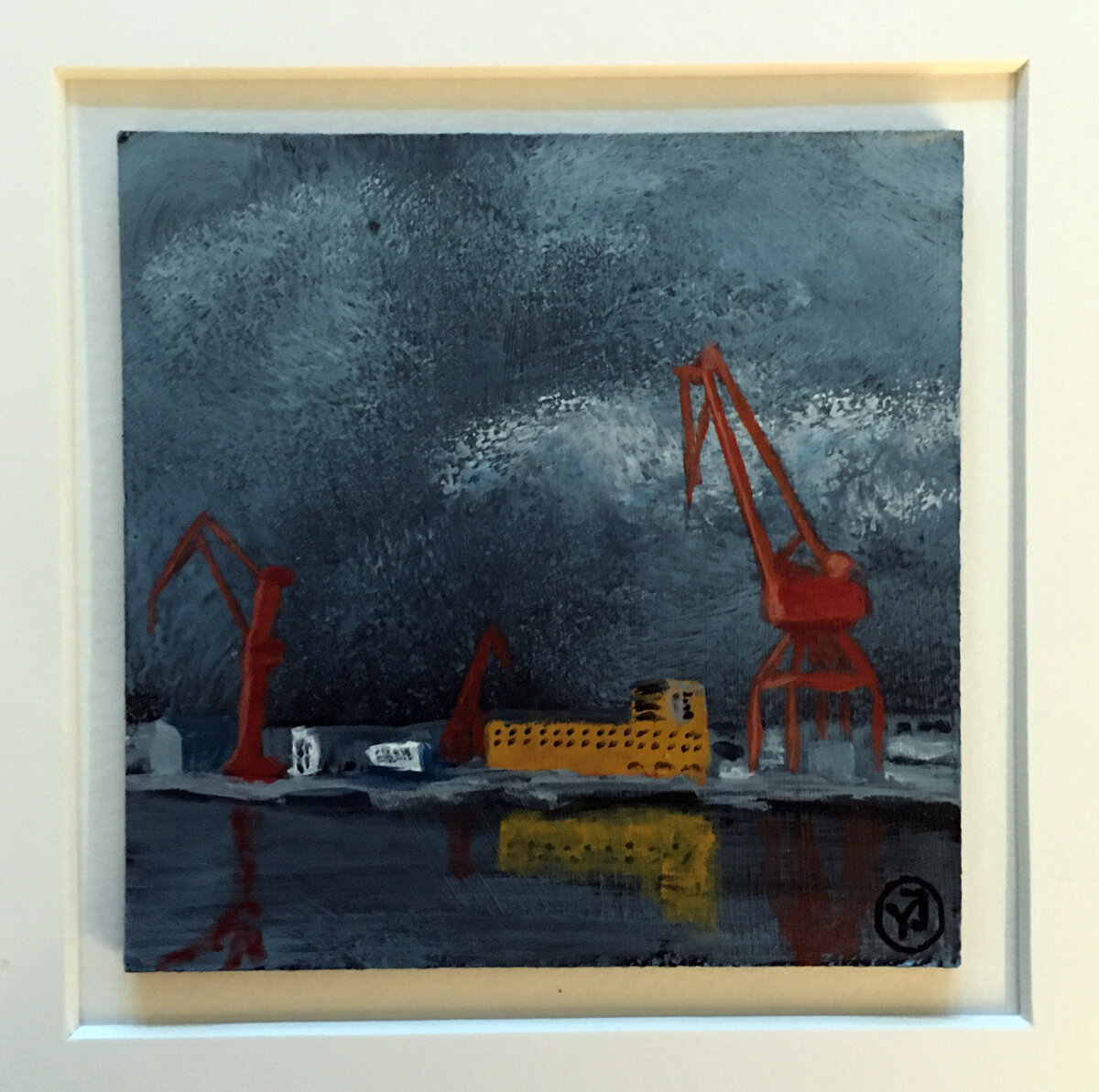"""""""Lindholmen"""" akryl på pannå 10 x 10 cm. 1450 kr."""