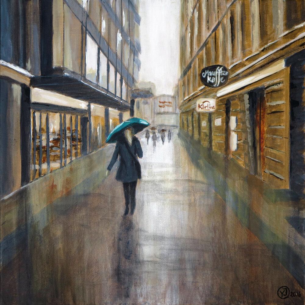 """Regn hos mig"" gicleétryck 26 x 26 cm. 950 kr."