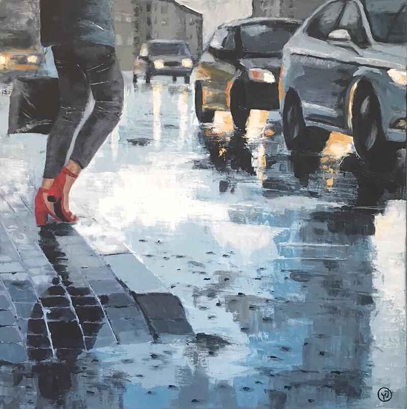 """Röda skor"" gicleétryck 26 x 26 cm. 950 kr."