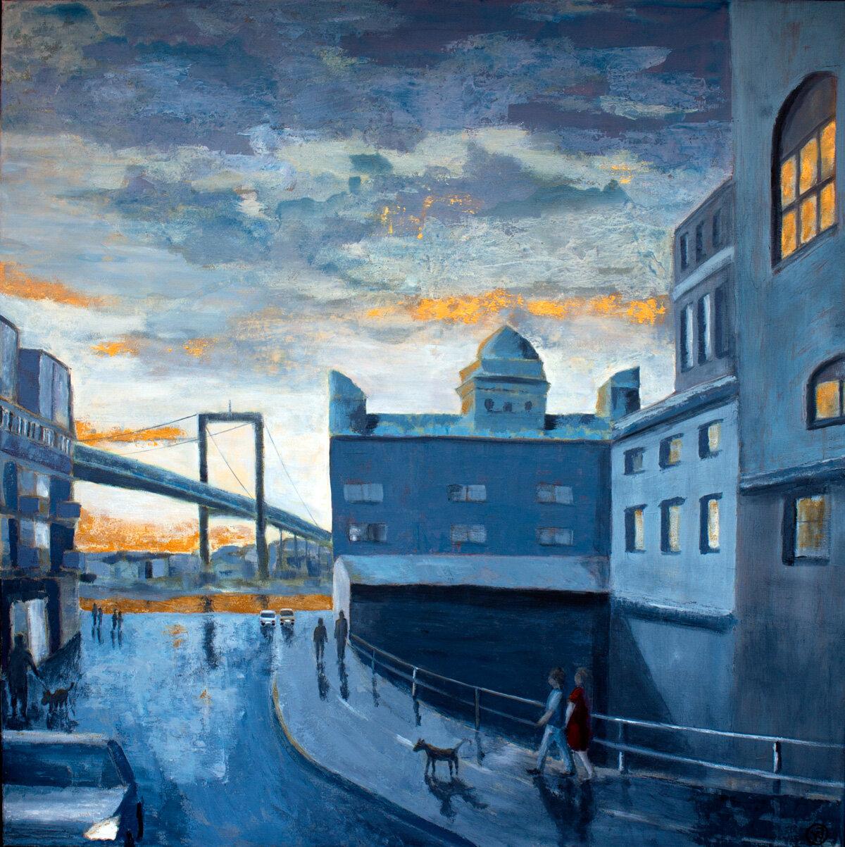 """""""Sommarkväll"""" akryl 100 x 100 cm. SÅLD"""