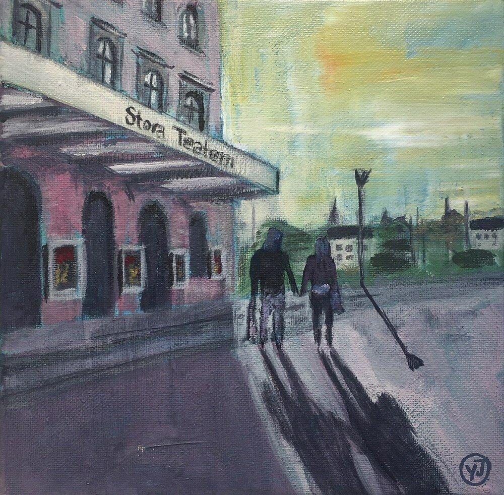 """Stora teatern"" akryl 20 x 20 cm. 2500 kr."
