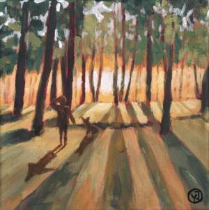 "Mellan träden"" akryl 20 x 20 cm. 2500 kr."