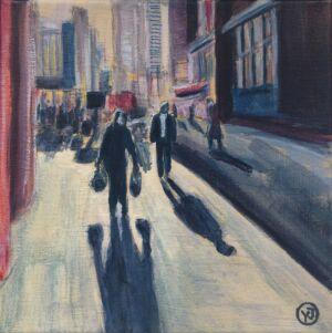 """På väg hem"" akryl 20 x 20 cm. 2500 kr."