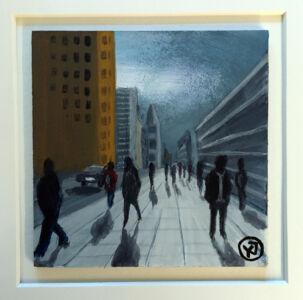 """Trottoar"" akryl på pannå 10 x 10 cm. 1450 kr."