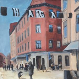 """Vår i Haga"" akryl 40 x 40 cm. 4500 kr."