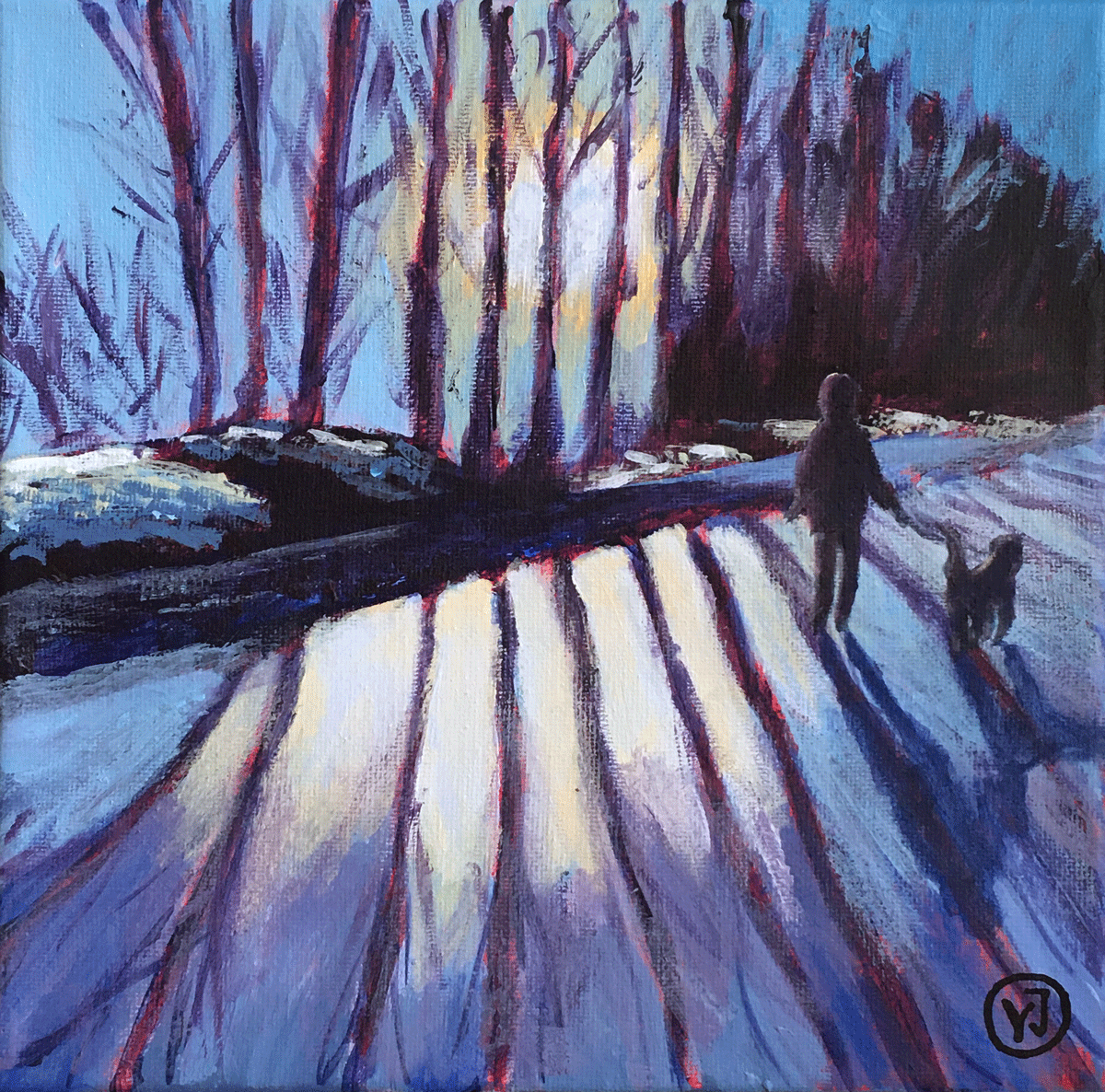 """Vårvinter"" akryl 20 x 20 cm. 2500 kr."